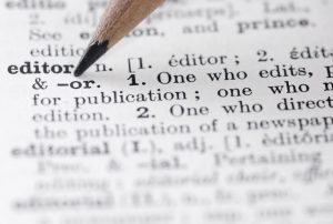 Definition of an editor from a dictonary page.